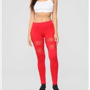 Fashion Nova red mesh cut out legging